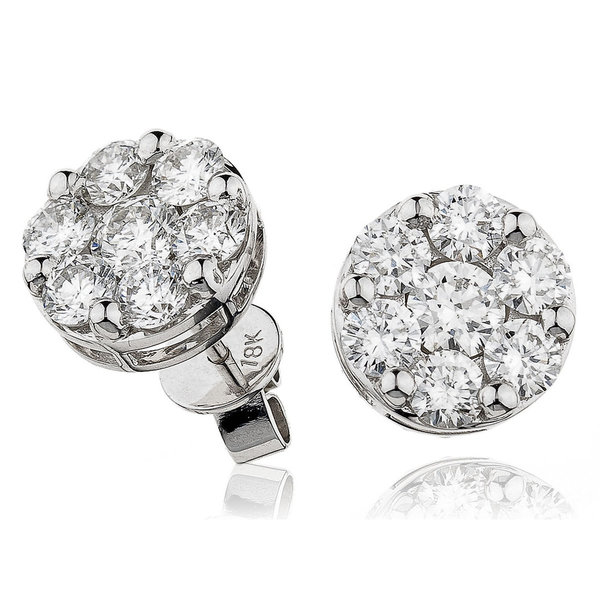 Diamond Cluster Earrings DEHQ955 (0.50ct-2.00ct)