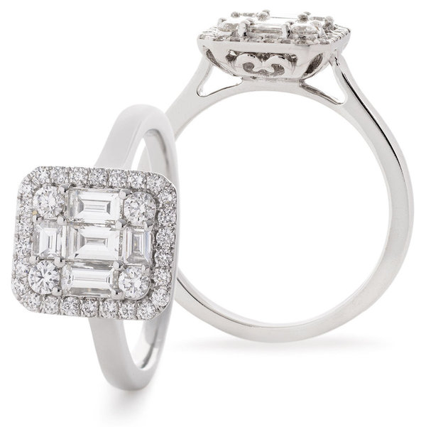 Modern Diamond Cluster Ring SL7728 (0.75ct - 1.00ct)